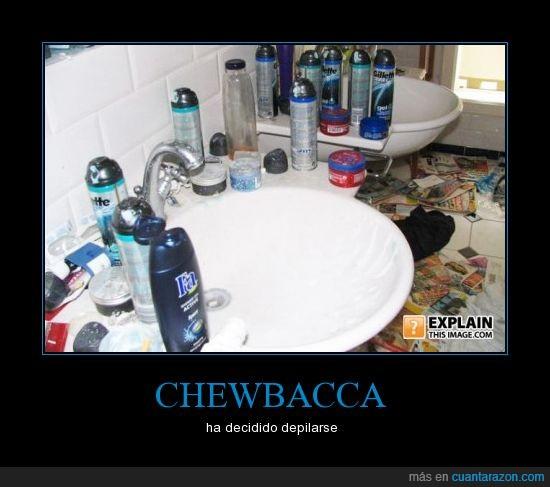 baño,chewbacca,depilar,espuma de afeitar