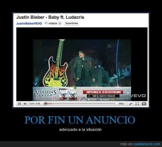 assassins creed,justin bieber,publicidad,youtube
