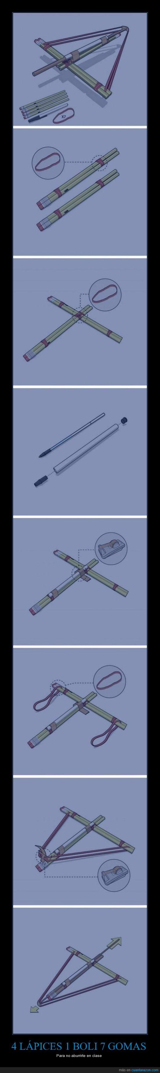 boli,gomas,lapiz,mecanismo,tirachinas