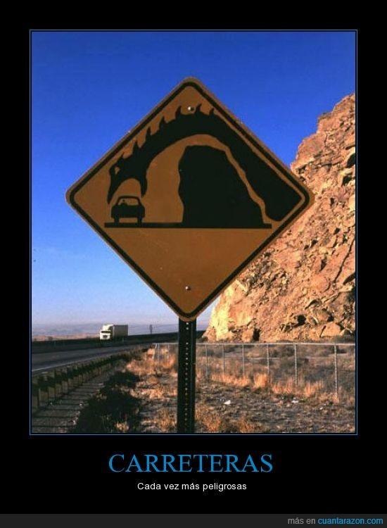 carretera,dragón,roca,Señal