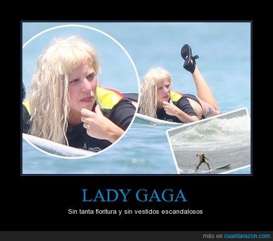 Lady Gaga,maquillaje,playa