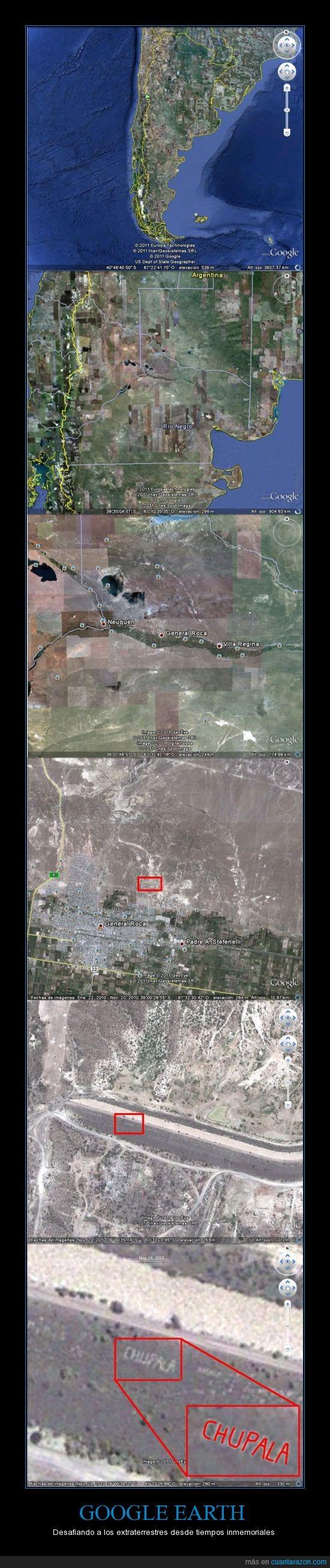 chupala,Google Earth,mensaje