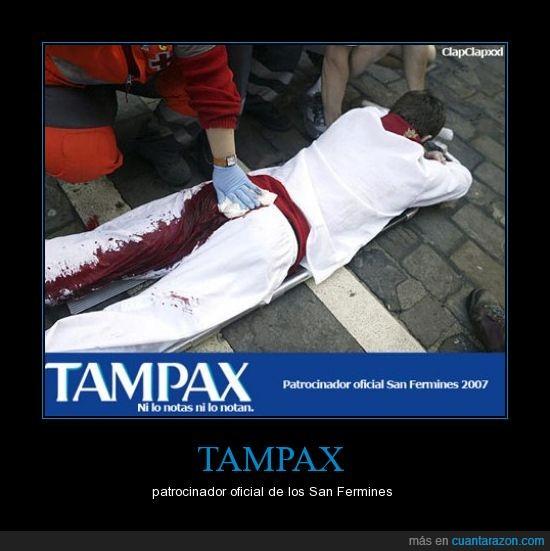 San Fermines,sangre,Tampax,toros