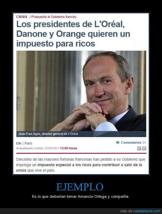 danone,francia,impuestos,orange,oreal,ricos