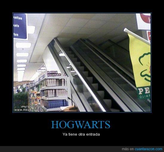 escalera mecánica,Harry Potter,Hogwarts,portal