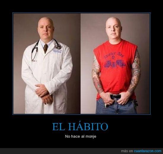 doctor,hábito,monje,refrán,tatuado