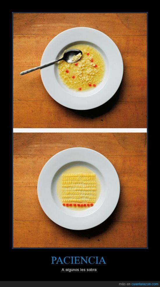 de letras,paciencia,sobra,sopa