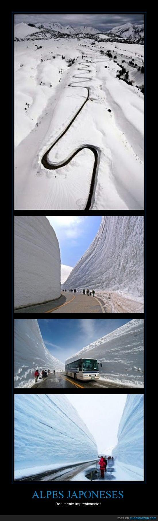 alpes,carretera,japoneses,montaña,nieve