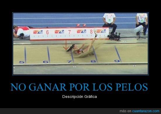 atleta,coleta,ganar,medalla,pelos,record,salto de longitud