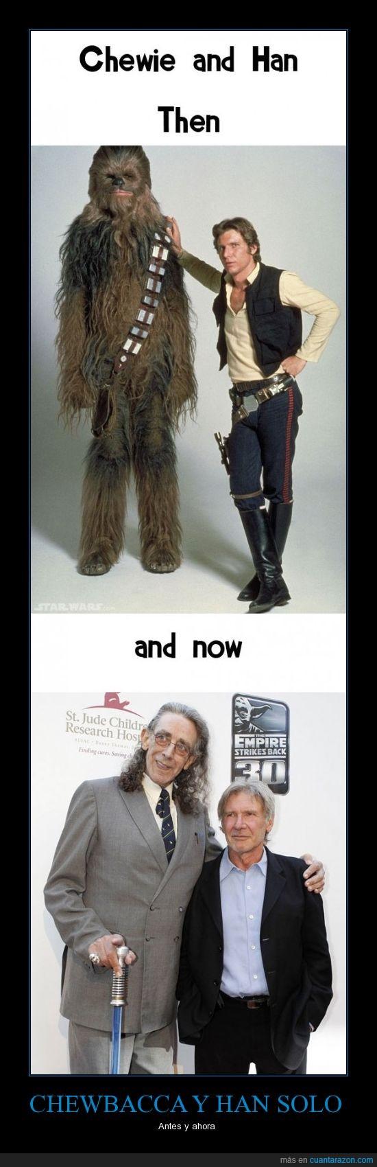 ahora,antes,Chewbacca,han solo,star wars