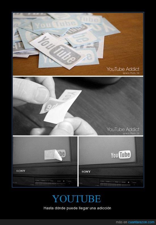 adicto,pegatina,tv,youtube