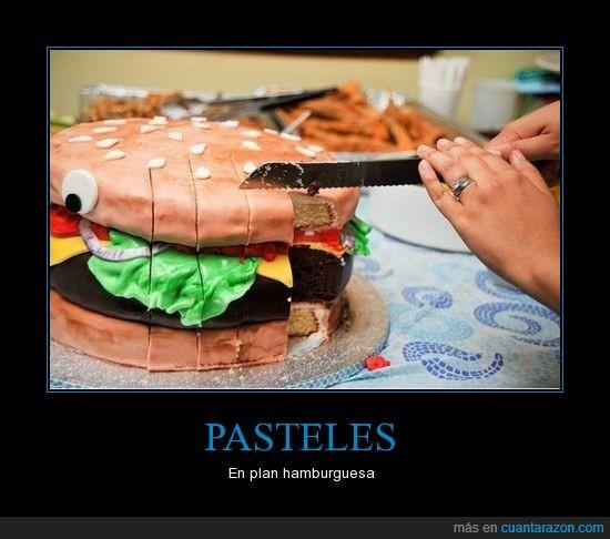 hamburguesa,pastel