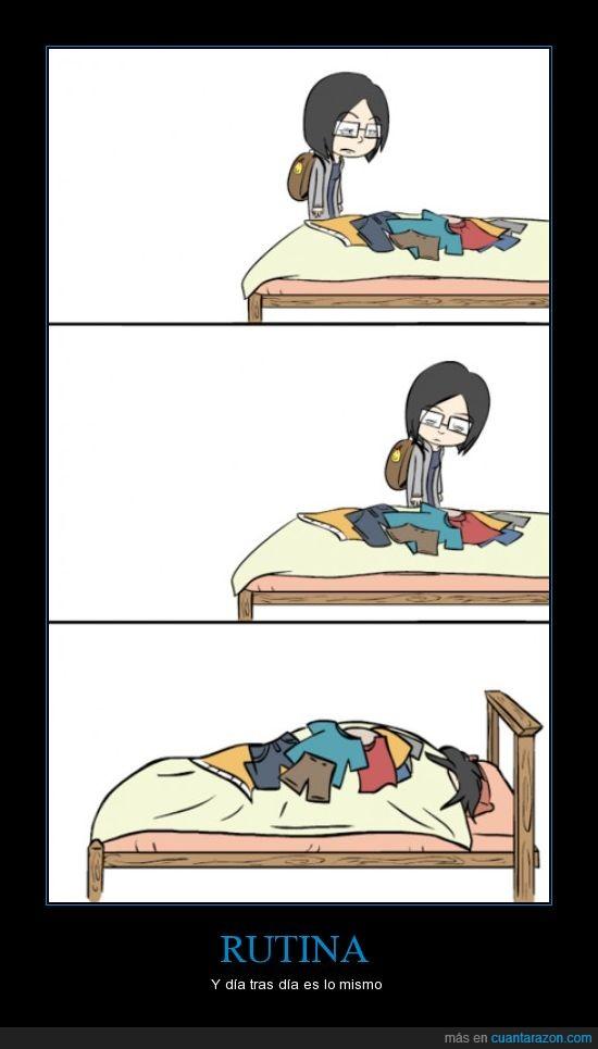cama,desorden,ropa,Rutina