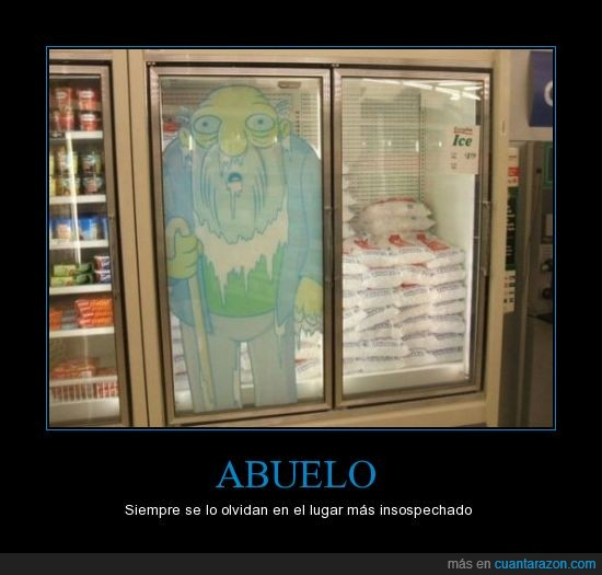 abuelo,congelado,los simpson,pegatina,supermercado