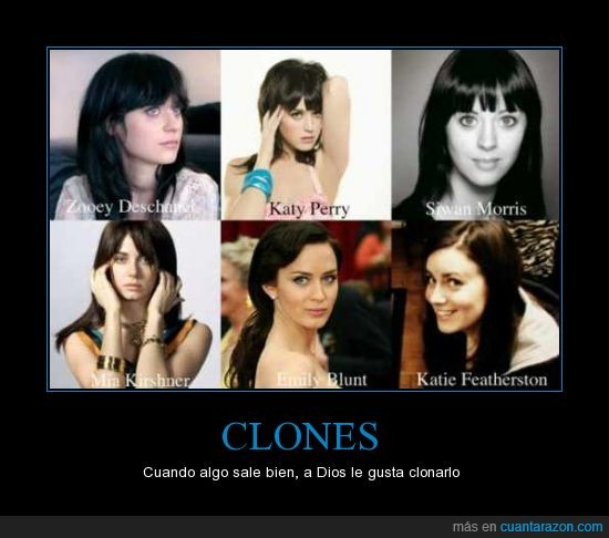 chicas,emily blunt,katie featherston,katy perry,mia kirshner,parecidos,siwan morris,zooey deschannel