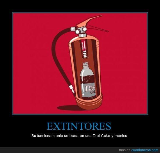 coke,extintor,mentos