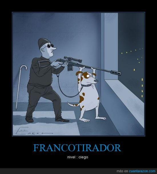 ciego,francotirador,perro