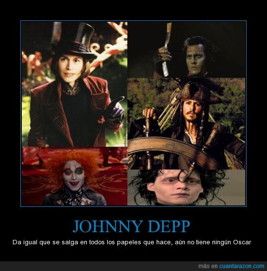 Edward sccisorhands,increible,Jack Sparrow,johnny depp,Mad Hatter,oscar,Sweeney Todd,Willy Wonka