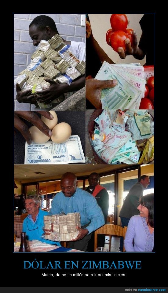 chicles,dolar,inflación,Zimbabwe