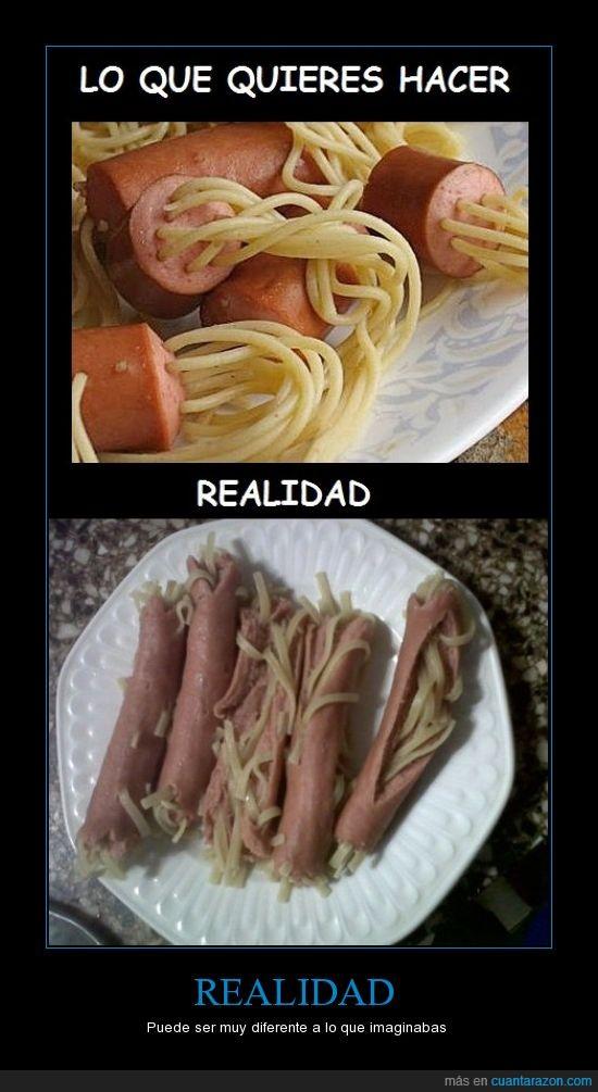 espaguetis,expectacion,fidechichas,frankfurts,hot dogs,imaginar,perritos calientes,realidad,salchichas