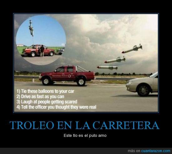 agente,coche,cohete,globos,misiles