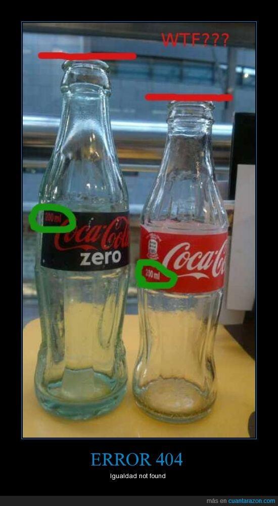 botella,cocacola,igualdad,zero
