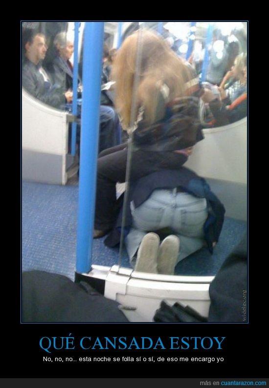 autobús,cansada,metro,mujer