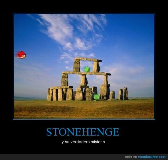 agnry birds,misterio,stonehenge
