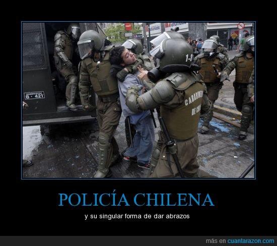 abrazos,chile,policia