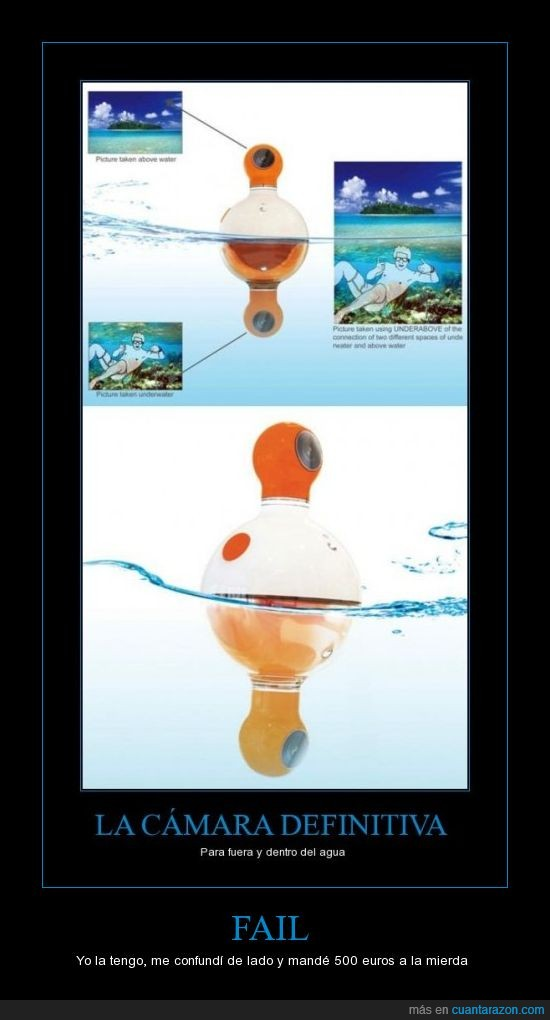 agua,camara submarina,confundir,euros,fail,girar