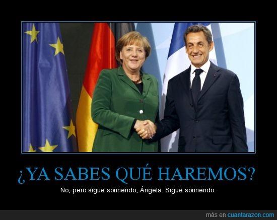 Angela Merkel,Crisis,Sarkozy,sonreir