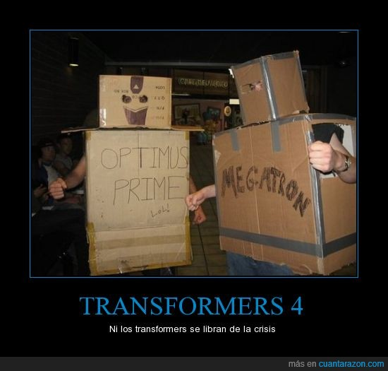 cajas,carton,crisis,falta,megatron,optimas,presupuesto,transformers