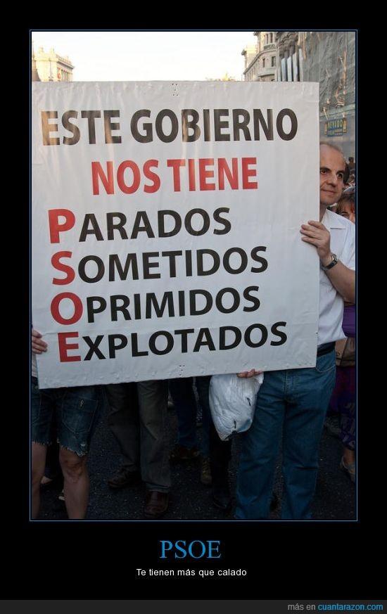 Democracia,explotados,Indignados,Ironía,Madrid,oprimidos,Parados,Protestas,PSOE,sometidos