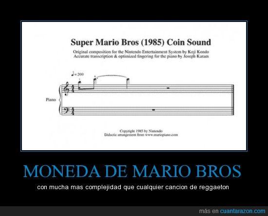 Mario bros,moneda,pentagrama