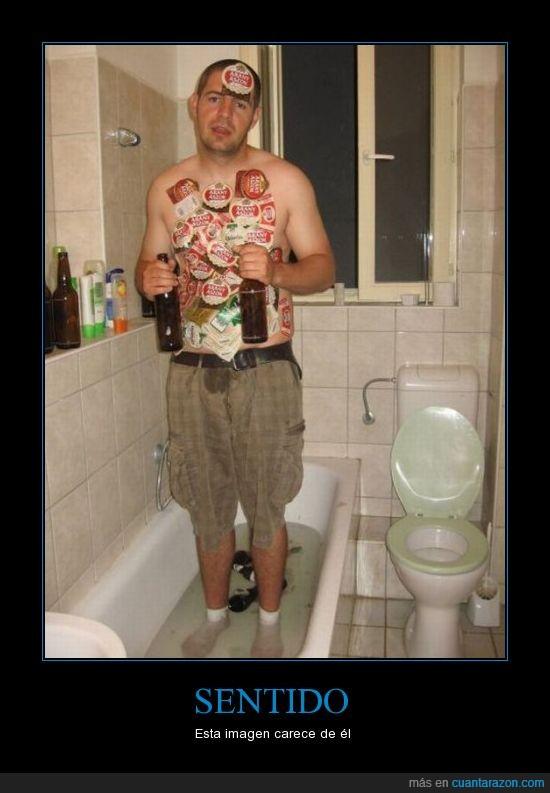 baño,cerveza,estudiantes,piso,sentido