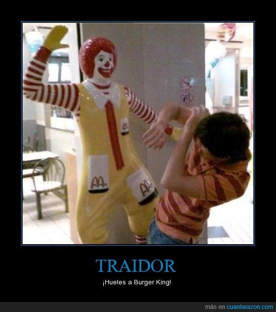 Burger King,Chico,McDonald,Pegar,Regañar,Ronald