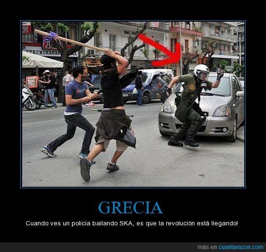 bailando,disturbios,grecia,manifestacion,policia,ska