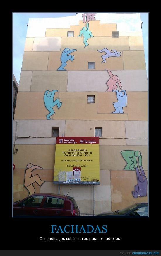 coches,Fachada,gente,ladrones,pared,pintura,subir