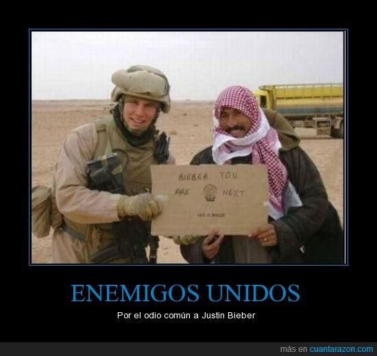 Bieber,enemigo,Irak,Iraqui,Justin,Marine,odio