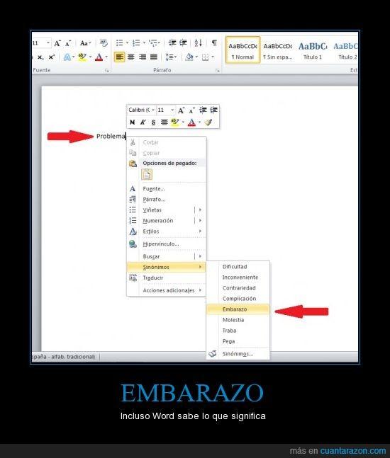 corrector,embarazo,ms word 2010,ordenador,problema,sinonimos