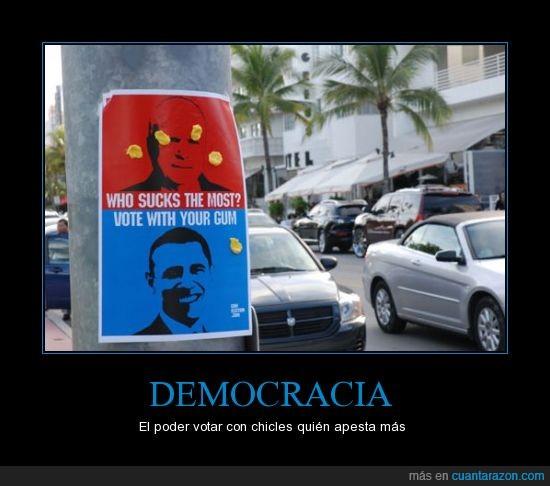 chicle,democracia,mujer