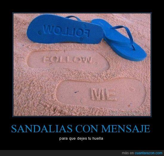 huellas,mensaje,sandalia