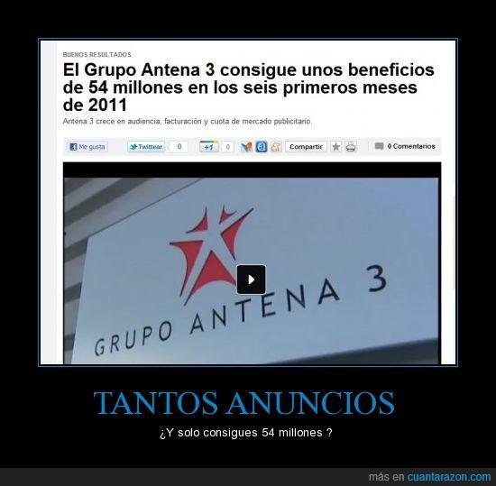 antena 3,beneficios,publicidad