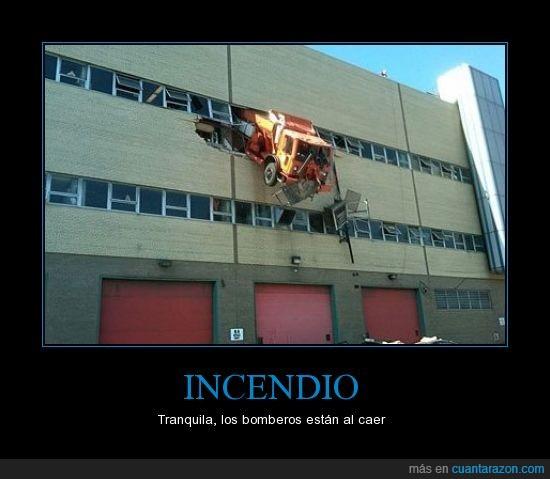 bomberos,camión,edificio,incendio