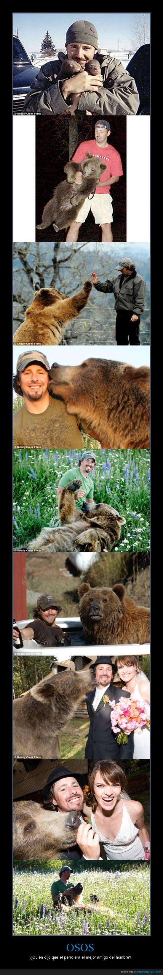 amigo,hombre,oso