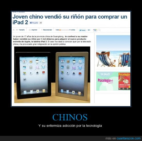 chino,comprar,ipad2,riñón,vender