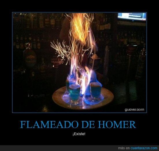 alcohol,flameado,homer,los simpson