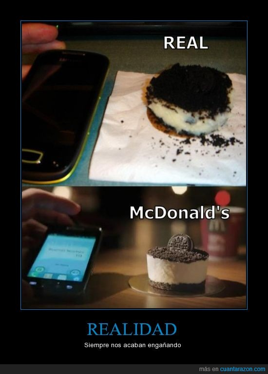 anuncio,cake,cake&go,expectations,expectativas,mcdonald's,mcdonalds,mentira,real,realidad