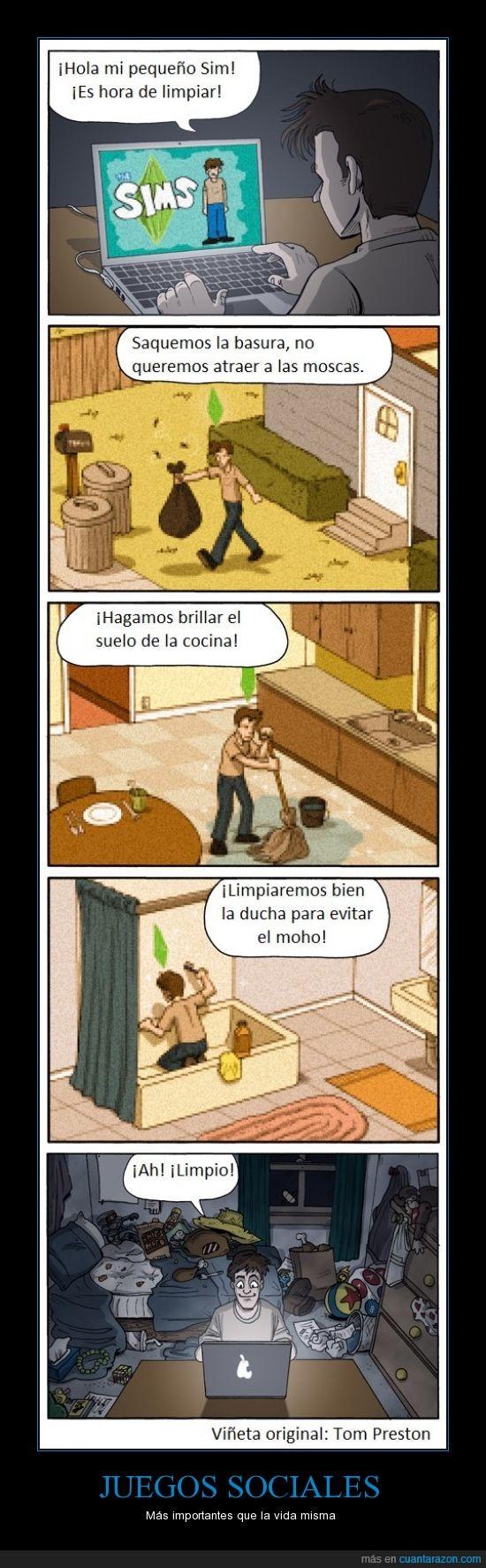 limpieza,Los Sims,sims,Viñeta