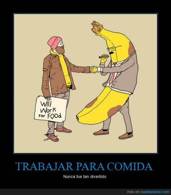 comida,plátano,trabajar
